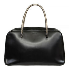 34478 auth LANVIN black leather AMALIA Bowling Handbag Bag