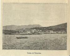 Stampa antica TERRACINA veduta panoramica Latina 1893 Old antique print