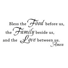 Kitchen Wall Sticker Bless the Food Family Love Quote Vinyl Removable Home Decor