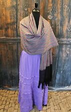 Dramatic Black, White & Purple Hand Woven Ikat Rebozo cotton Scarf Shawl Mexico