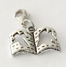 BEAUTIFUL SILVER  OPEN  PRAYER  BOOK  -  CLIP ON CHARM  -TIBETIAN SILVER - NEW