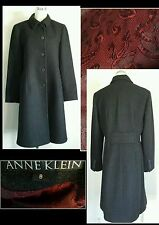 NWOT Anne Klein Charcoal Gray 100% Wool Burgundy Paisley Lined Coat Womans M 8
