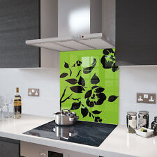 Lime Green and Black Floral Glass Splashback 60cm X 75cm