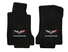 NEW! 2008-2012 C6 Corvette Floor mats W/Flags & Script Logo Black Ebony front pr