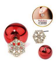 SNOWFLAKE Front & Back Double Sided Clear Crystals Red Ball Earrings
