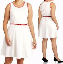 New Womens Plus Size 1X 16/18 Textured White Dress with Belt Extra Touch NWT