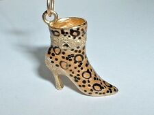 14K YELLOW GOLD CHEETAH PRINT HIGH HEEL SHOE CHARM PENDANT