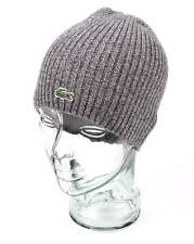 Lacoste Ribbed Wool Beanie Hat in Grey - 100% Wool
