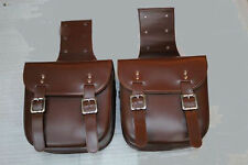 Motorcycle Leather Saddlebag Rider Pair of Bag Motorbike Panniers Luggage Brown