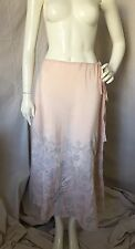 Sasha Laguna Beach 100% Silk Pale Pink & Gray Embroidered Flared Maxi Skirt Sz S