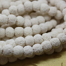 """Lava Beads Strands Round Dyed White Color 12mm hole 2mm 33 pc/strand, 15"""" strand"""