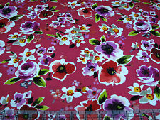 3 Yards Quilt Cotton Fabric - Hoffman Picnic Social Floral Watercolor Red
