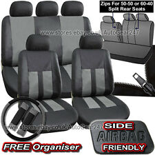 Black Grey Leather Look Split Rear Air Bag Friendly Full Car Seat Covers.Alaska