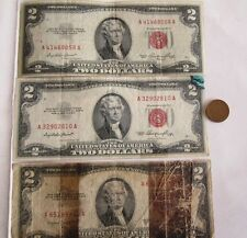 4/LOT: Three 1953 Red Seal $2 Bill Paper Money + One Old One Cent USA Coin, SALE