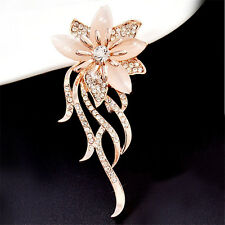 Women Crystal Opal Stone Rose Gold Flower Brooch Brooches Clothing Accessories