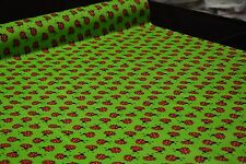 """Green Red Ladybugs Print Quilt Fabric Apparel Craft Upholstery 45""""W #9981G"""