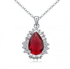 GORGEOUS 18K WHITE GOLD GP& GENUINE SWAROVSKI CRYSTAL RUBY RED NECKLACE