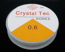 2 x 10mtr R0LLS CLEAR 0.6mm NYLON BEADING ELASTIC CORD ~JEWELLERY~ BRACELET(DR)