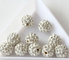20 Quality Czech Crystal Rhinestones Pave Clay Round Disco Ball Spacer Bead 8mm