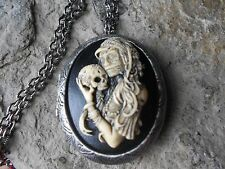 ZOMBIE, SKELETON WOMAN, SKULL (HAND PAINTED) CAMEO ANTIQUED SILVER PLATED LOCKET