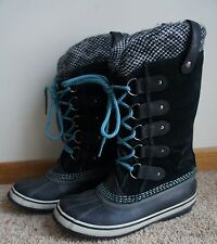 Sorel Women's Joan of Arctic NL 2084 010 Blk Turquoise Suede Leather Boots Sz 7