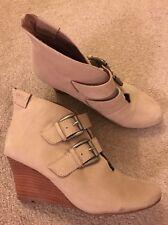 Ladies EMU (Australia) Beige Leather Ankle Boots AU 7 UK 5