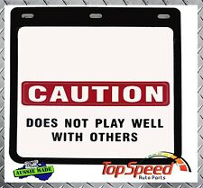 Mud Flaps  Rear Caution Does Not Play  set of 2  250mm X 230mm  4X4   Universal