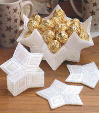 STAR COASTERS AND BOWL CHRISTMAS PLASTIC CANVAS PATTERN INSTRUCTIONS