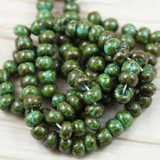 """1/0 Turquoise / Heavy Picasso Czech seed beads - 20"""" strand"""