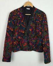 VINTAGE 80'S BRIGHT BOLD CRAZY PRINT WOMENS FESTIVAL JACKET UK S