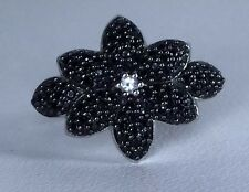 Size 8 Black Spinel & White Topaz Sterling Silver Ring Gorgeous Black Beauty!