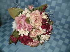 SILK BOUQUET & BOUTONNIERE....ROSES & STEPHANOTIS....BURGUNDY....BRAND NEW