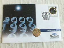TURKS & CAICOS 2000 MILLENNIUM 25 CROWN GOLD & SILVER PROOF - coin cover