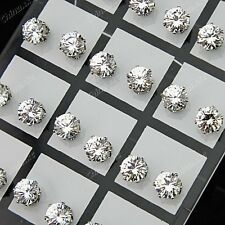Wholesale Jewelry 24pcs 7mm Stainless Steel Cubic Zirconia Wedding Stud Earrings