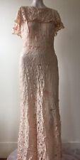 Antique 1930s Nude All Floral Lace Dress Bias Cut Cape Collar Low Back Vintage