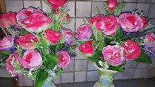 2 Sets Silk Artificial Pink Color Rose Flowers & Vases table Decorations A