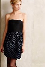New ANTHROPOLOGIE by 4.COLLECTIVE Flared Dot Jacquard Strapless dress Sz 10 RARE
