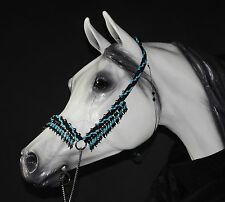 Hand Braided Arabian Style Show Halter, Horse Tack,  BLACK / TURQUOISE---NEW!