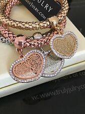 Designer Gold, Silver & Rose Gold Stretch Tri Bracelet With Diamanté Hearts.