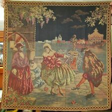 Antique Tapestry Venice Carnivale Night Scene Grand Canal Excellent Condition