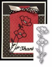 Memory Box dies DARLING POPPIES metal die 98879 poppy flowers all occasion leaf