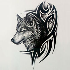 2x Large Wolf Head Waterproof Temporary Removable Tattoo Bodys Arm Leg Stickers