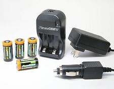 CR-123A AC Wall & 12v Car Battery Charger + 4X 1200mAh LI-ON Batteries 110/240V