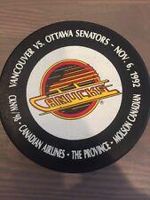 Vancouver Canucks vs Ottawa Senators 11/6/92 Souvenir NHL Hockey Puck
