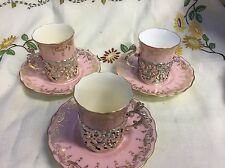 Coalport ART NOUVEAU 3set Coffee Cup/Can Silver Cherub Holder 1906 ACM Co Seein