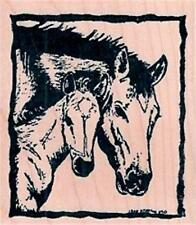 NEW NORTHWOODS  RUBBER STAMP Mare & Colt Horses in frame Free us ship