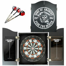 SOA Sons of Anarchy DART BOARD AND CABINET DARTS SET Fathers Day Gift Sale Now