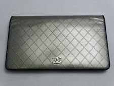 US SELLER! Authentic CHANEL LONG WALLET GREENISH SILVER STITCH LEATHER COCO