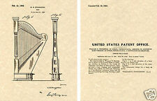 1923 STOUGHTON HARP US PATENT Art Print READY TO FRAME!!! String Instrument