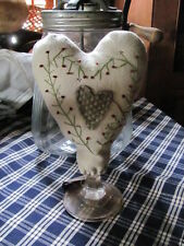 Make Do Repro Folk Art Primitive Wool Embroidered Heart,Glass Stand Pin Cushion